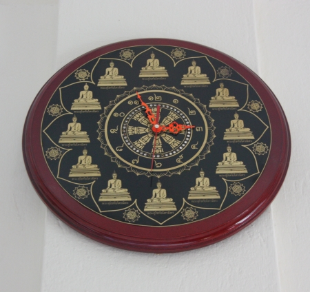 Wall clock designed for use with the wall for easy visibility Stock Photo