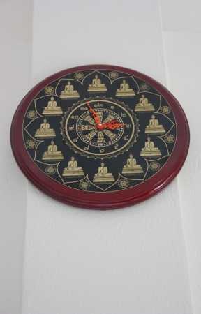 Wall clock designed for use with the wall for easy visibility photo