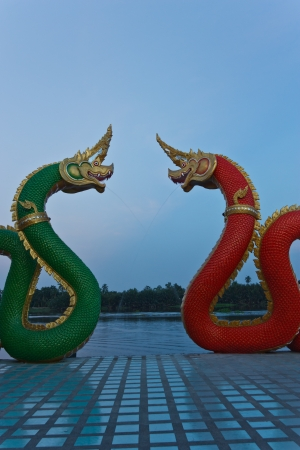 Red and green dragon  Design that has the power and beauty of a skilled technician  According to the beliefs of the Chinese mainland  Worldwide  photo