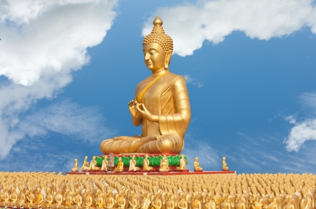 Golden Buddha. Karma is a beautiful statue of action created. To set in Buddhism. Tourism is a Buddhist. To bring about a boom in trade in Thailand. Stock Photo