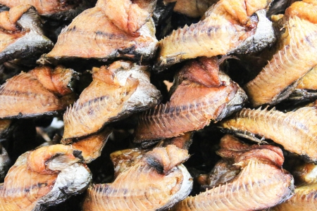 Dried fish as a food preservation that can be stored for long. And a product that can be sold to an income of farmers. photo