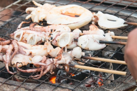 Fast food is grilled squid that ate itself  The family feasting  A party with friends  A small casual party  Stock Photo - 22981620