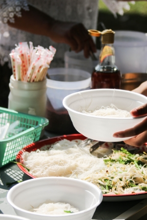 toughness: Mee white line to eat. Taken several cooking. Made from rice flour with extra toughness.  Stock Photo