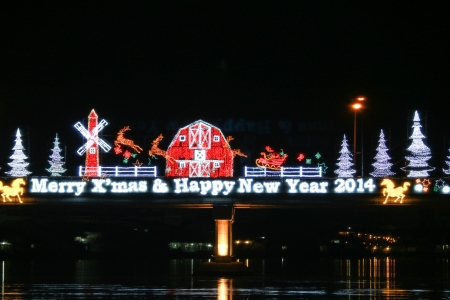 Decoration lights of Christmas and New Year Celebration photo