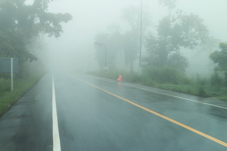 Fog is a cloud in the winter morning. Or, in rainforests occur after rain stops new naturally occurring nicely. photo