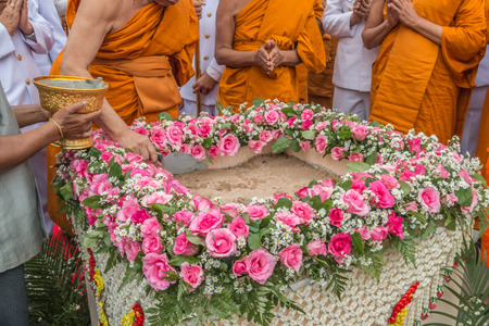 attend: SURIN, THAILAND - JULY 9 Many people do not know the name of the country to attend the foundation stone laying new building. July 9, 2015 in Surin, Thailand