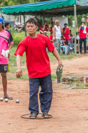bocce ball: CHACHOENGSAO, THAILAND - JUNE 26. Many people do not know the names attended annual sporting event. June 26, 2016, the year of the Chachoengsao Thailad.