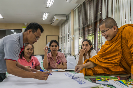 shorthand: CHONBURI, THAILAND - JUNE 26 : People who do not know the name and symposiums in the office. On June 26, 2016 in Chonburi, Thailand.