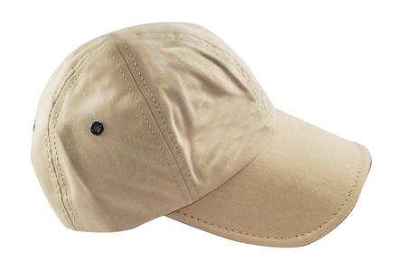 Beige cap isolated on white background Stock Photo