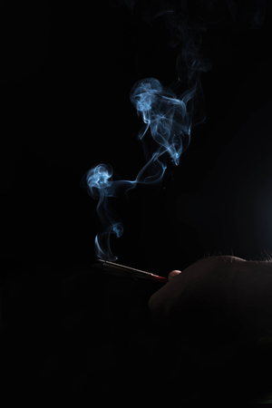 Smoke with black background. Stock Photo