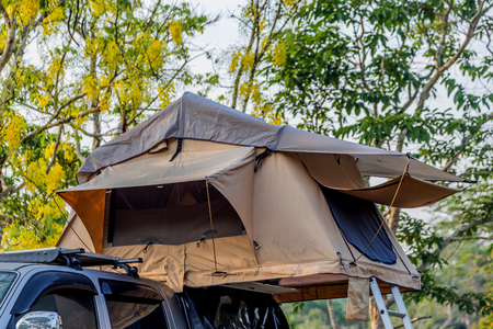 Tent camping is finished fabrics The commercially available Intended for a single location, such as a forest, ideal for moving and storage easy.