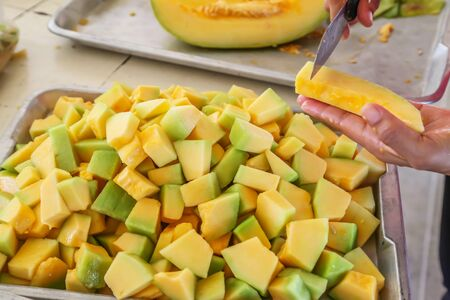 Melon fruits prepared and peeled for cooking
