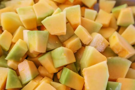 Melon peeled and prepared for cooking