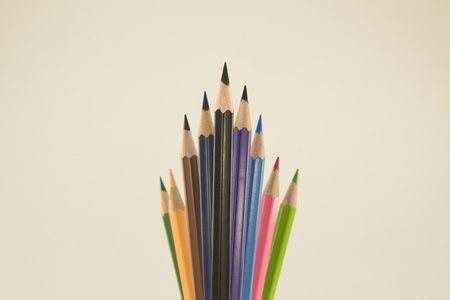 colored pencils pointing up on a white background