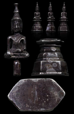 The art of Lao Buddha Amulets cast in the Lan Xang period, usually called Lan Xang Lao Art. This fascinating piece of amulet is a worthy amulet collection, This amulet able to protect from all dangers,powerfull montra in the great charm and the good luc Stock Photo