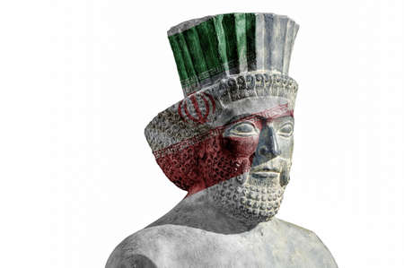 solider: persian solider statue from Persepolis with current Iranian flag Stock Photo