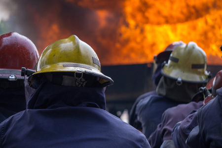 Fire fighters are extinguishing huge fire