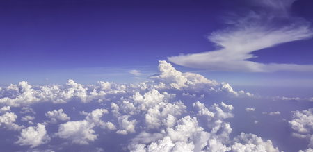 Blue cloudy skt view from jet plane Stock Photo