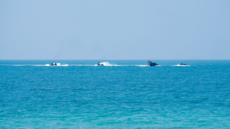 CHONBURI, THAILAND - FEBRUARY 17, 2018: Assault amphibious vehicles of South Korea sail along the sea during Cobra Gold 2018 Multinational Military Exercise on February 17, 2018 in Chonburi, Thailand.