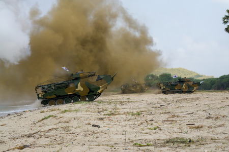 CHONBURI, THAILAND - FEBRUARY 17, 2018: Assault amphibious vehicles of South Korea land on sea shore during Cobra Gold 2018 Multinational Military Exercise on February 17, 2018 in Chonburi, Thailand. Editorial