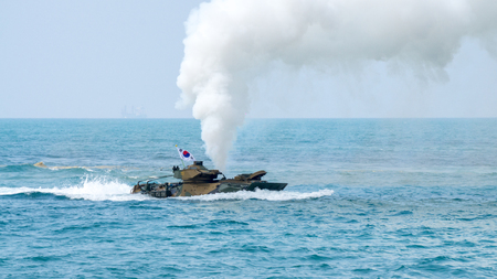 CHONBURI, THAILAND - FEBRUARY 17, 2018: Assault amphibious vehicle of South Korea sails along the sea during Cobra Gold 2018 Multinational Military Exercise on February 17, 2018 in Chonburi, Thailand.