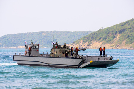 CHONBURI, THAILAND - FEBRUARY 17, 2018:  Landing Craft Mechanized or LCM of South Korea carries light tank to send it on the enemy beach during Cobra Gold 2018 Multinational Military Exercise.