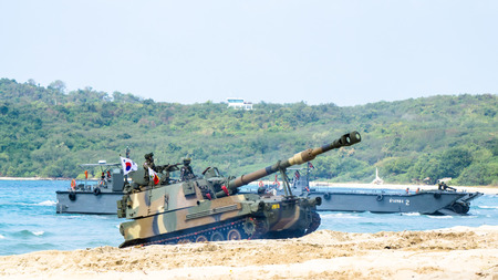 CHONBURI, THAILAND - FEBRUARY 17, 2018: Light tank of South Korea lands on the beach during Cobra Gold 2018 Multinational Military Exercise on February 17, 2018 in Chonburi, Thailand.
