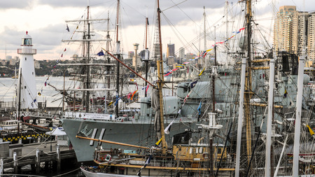 SYDNEY, AUSTRALIA - OCTOBER 8, 2013 : Historic Australian ships moor at the harbour in front of the Australian National Maritime Museum on October 8,2013 in Darling Harbour, Sydney, Australia.