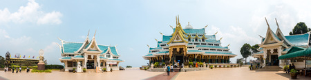 UDONTHANI, THAILAND - MARCH 17, 2018 : Panorama of famous unique blue roof of Buddhism sacred halls of Wat Pha Phu Gon temple on March 17,2018 at Udonthani Province Thailand.