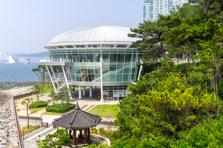 BUSAN,SOUTH KOREA - JULY 20, 2017: Nurimaru APEC House, the convention hall for 2015 APEC summit meeting   locate on Haeundae Dongbaekseom Island on July 20, 2017 in Busan, South Korea.