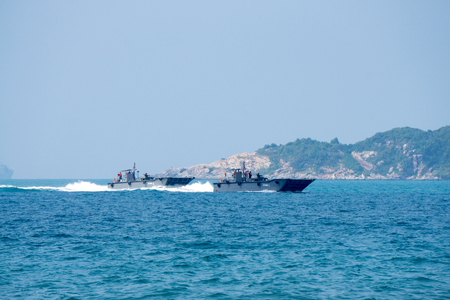CHONBURI, THAILAND - FEBRUARY 17, 2018:  Two Royal Thai navy Landing Craft Mechanizeds or LCMs carrie humvees to send on the enemy beach during Cobra Gold 2018 Multinational Military Exercise. Editorial
