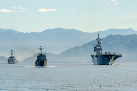 PADANG,INDONESIA-APRIL 16,2016 : SLNS Samudura (P621) Sri Lanka ship, JS (DDH-182) Ise Japanese ship, USS Stockdale (DDG-106) US ship sail in the harbour during Multilateral Naval Exercise Komodo 2016