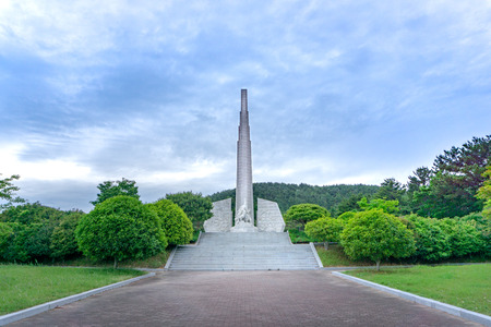 GEOJE, SOUTH KOREA - MAY 20, 2018 : The monument of Admiral Yi Sun-Sin at Okpo great vitory commemoative park  on Geoje island, Gyeongsangnam-do, South Korea.