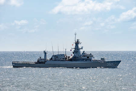 CHONBURI, THAILAND - AUGUST 18, 2019: KRI Bung Tomo, Indonesian corvette sails in the sea during the 20th Sea Garuda  2019 Exercise between Royal Thai Navy and Indonesian Navy in the Gulf of Thailand