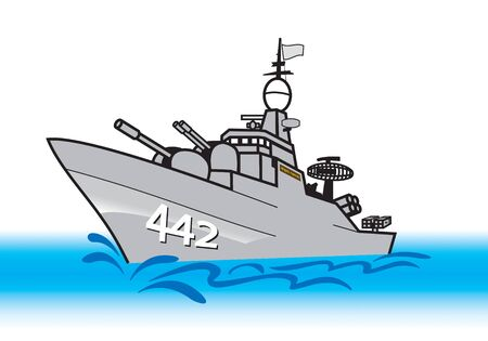 Navy corvette ship with two main guns , Surface-to-surface and surface-to-air guided missile launcher illustration