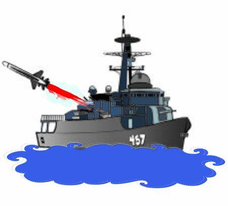 Navy guided missile frigate is firing C-801 guided missile at starboard side colour illustration vector