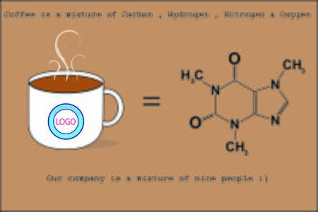 Coffee cup with chemical formula represent strong relationship between boss and subordinate in the organization
