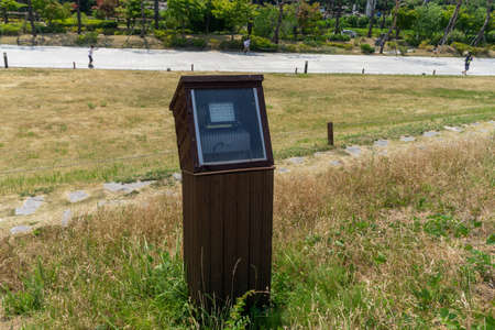 LED light lantern in the watertight wooden box for environmental friendly in the park at Gimhae city, South Korea.