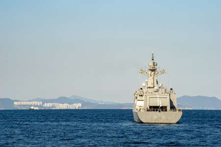 GEOJE, SOUTH KOREA - OCTOBER 20, 2018 : Nampo-class minelayer, HDM-4000 or MLS II-class is a new class of anti-submarine warfare minelayers for the Republic of Korea Navy