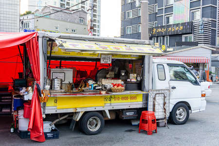 GEOJE, SOUTH KOREA - JUNE 15, 2017: Local food truck park in the community in Okpo, Geoje island, South Korea. Redakční