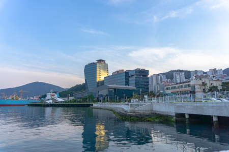 GEOJE, SOUTH KOREA - JUNE 15, 2017: Headquarter of Daewoo shipbuilding and Marine Engineering or DSME shipbuilder locate in Okpo, Geoje island, South Korea.