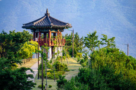 GEOJE, SOUTH KOREA - MAY 20, 2018 : Traditional Korean style pavilion locate on the hill in Okpo,Geoje island, Gyeongsangnam-do, South Korea.