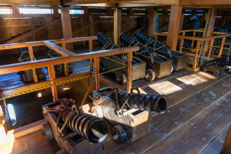 GEOJE, SOUTH KOREA - JUNE 15, 2017: Replica of ancient cannon inside Geobukseon or Korean traditional turtle warship.
