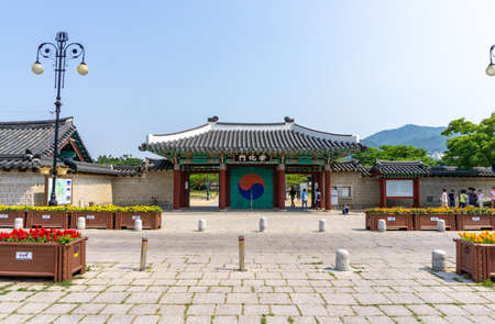 GIMHAE, SOUTH KOREA - JUNE 18, 2017 : Door entrance and exit of Royal tomb of king Suro of Gaya kingdom in Gimehae, South Gyeongsang province, South Korea.