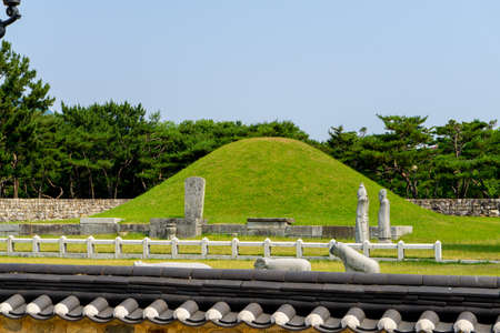 GIMHAE, SOUTH KOREA - JUNE 18, 2017 : Royal tomb of king Suro of Gaya kingdom in Gimehae, South Gyeongsang province, South Korea.
