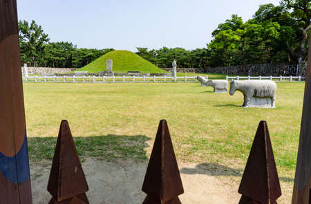 GIMHAE, SOUTH KOREA - JUNE 18, 2017 : Mound of Royal tomb of king Suro of Gaya kingdom in Gimehae, South Gyeongsang province, South Korea.