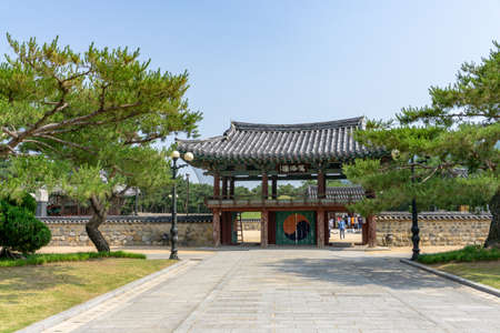 GIMHAE, SOUTH KOREA - JUNE 18, 2017 : Second gate of Royal tomb of king Suro of Gaya kingdom in Gimehae, South Gyeongsang province, South Korea.