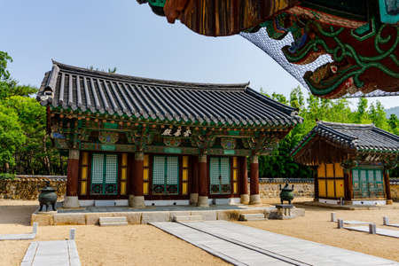 GIMHAE, SOUTH KOREA - JUNE 18, 2017 : Traditional Korean style building in the Royal tomb of king Suro of Gaya kingdom in Gimehae, South Gyeongsang province, South Korea. Redakční