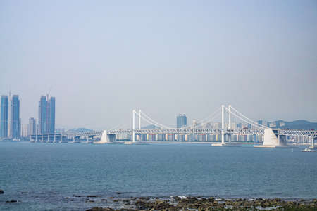 BUSAN,SOUTH KOREA - JULY 20, 2017: The Gwangandaegyo or Gwangan bridge or Diamond Bridge is a suspension bridge located in Busan, South Korea. It connects Haeundae-gu to Suyeong-gu.