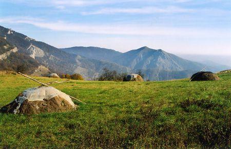 haymaking: Haymaking in the Crimea, Ukraine. Photographed ine the autumn Stock Photo